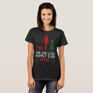 German Pinscher She Lived Happily Ever Christmas T-Shirt