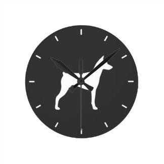 German Pinscher Silhouette Round Clock