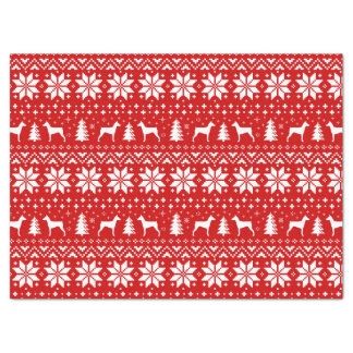 German Pinscher Silhouettes Christmas Pattern Red Tissue Paper