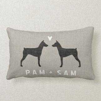German Pinscher Silhouettes Love Lumbar Pillow