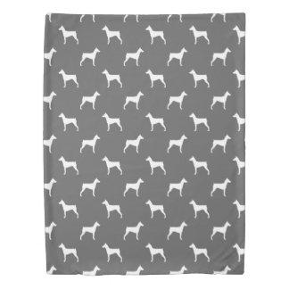 German Pinscher Silhouettes Pattern Grey Duvet Cover