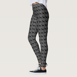 German Pinscher Silhouettes Pattern Leggings