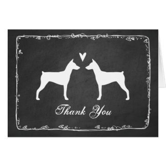 German Pinscher Silhouettes Wedding Thank You Card