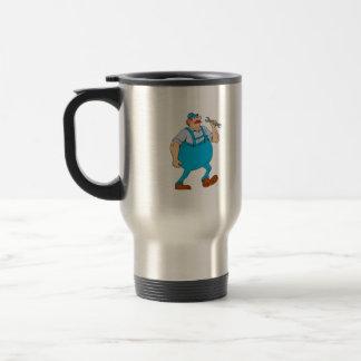 German Repairman Marching Spanner Cartoon Travel Mug