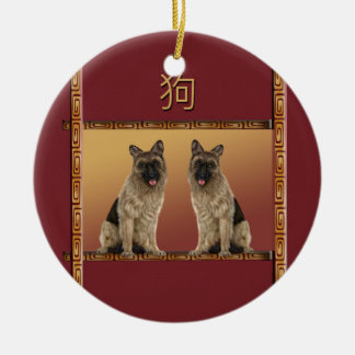 German Shepard Asian Design Chinese New Year, Dog Ceramic Ornament