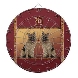 German Shepard Asian Design Chinese New Year, Dog Dartboard