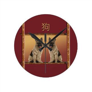 German Shepard Asian Design Chinese New Year, Dog Round Clock