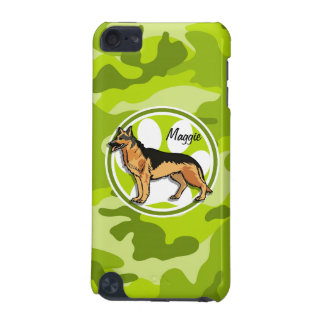German Shepard bright green camo camouflage iPod Touch (5th Generation) Cases