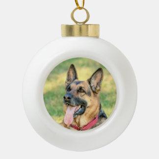 German Shepard Ceramic Ball Christmas Ornament
