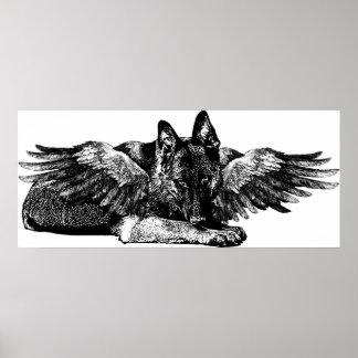 German Shepard Dog Angel Original ART Poster