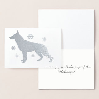 German Shepard Dog GSD Snowflakes Foil Card