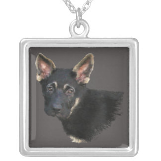 German Shepard Puppy-Pastels Silver Plated Necklace