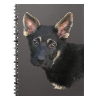 German Shepard Puppy-Pastels Spiral Note Book