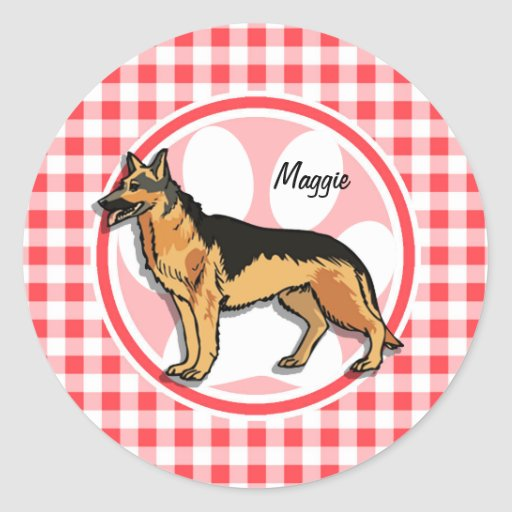 German Shepard; Red and White Gingham Sticker