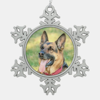 German Shepard Snowflake Pewter Christmas Ornament