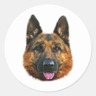 German Shepherd Alsatian K-9 Dog Round Stickers