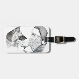 German Shepherd and Santa Bag Tag