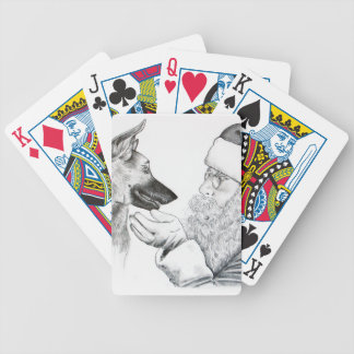 German Shepherd and Santa Bicycle Playing Cards