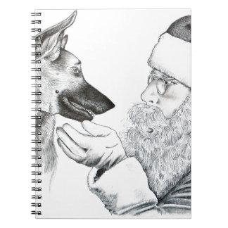 German Shepherd and Santa Spiral Note Book