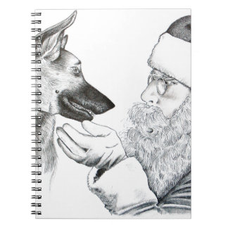 German Shepherd and Santa Spiral Notebook