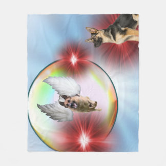 German Shepherd Angel Flying Fleece Blanket