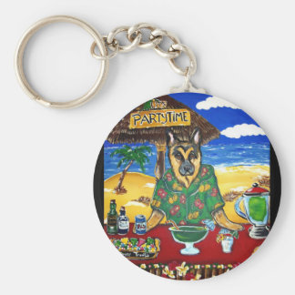 German Shepherd Bartender Basic Round Button Keychain