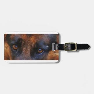 german-shepherd-black and red eyes luggage tag