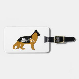 German Shepherd black and tan name silo Luggage Tag