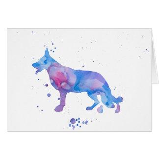German Shepherd Blue Cool Watercolor Illustration Card