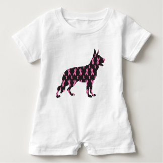 German-Shepherd-Cancer-Ribbon-Black Baby Romper