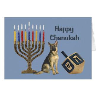 German Shepherd Chanukah Card Menorah Dreidel1