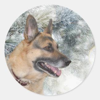 German Shepherd Christmas Classic Round Sticker