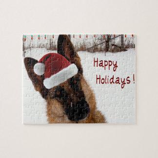 German Shepherd Christmas Photo Jigsaw Puzzle