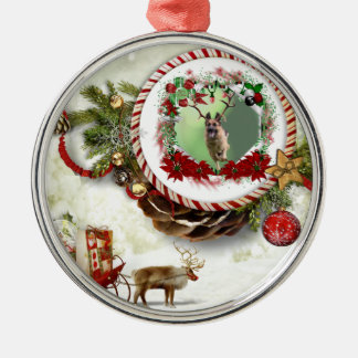 German Shepherd Christmas Silver-Colored Round Ornament