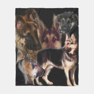 German Shepherd Collage Fleece Blanket