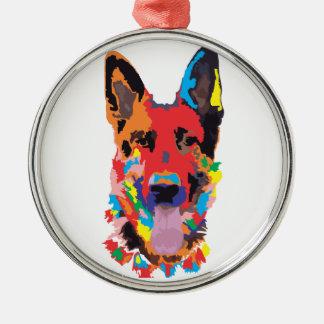 German shepherd color metal ornament