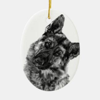 "German Shepherd ""Curious"" Ceramic Ornament"