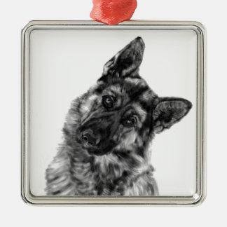 """German Shepherd """"Curious"""" Metal Ornament"""