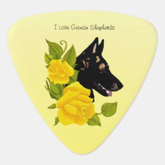 German Shepherd Dog and Yellow Roses Guitar Pick