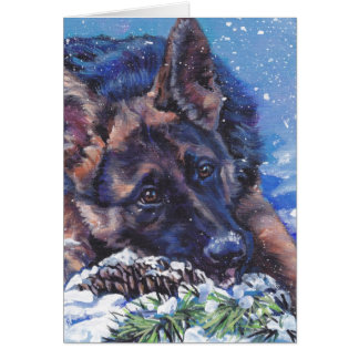 German Shepherd Dog Art Christmas Holiday Card