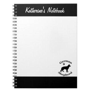 German Shepherd dog black silhouette custom name Note Book