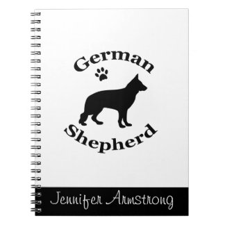 German Shepherd dog black silhouette custom name Notebook