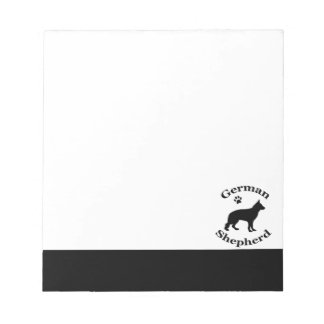 German Shepherd dog black silhouette paw print Notepad