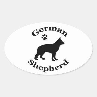 german shepherd dog black silhouette paw print oval sticker