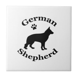 German Shepherd dog black silhouette paw print Tile