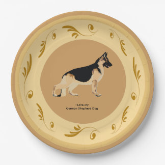 German Shepherd Dog, Brown and Gold Swirls 9 Inch Paper Plate