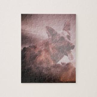 German Shepherd Dog Clouds Heaven Art Portrait Jigsaw Puzzle