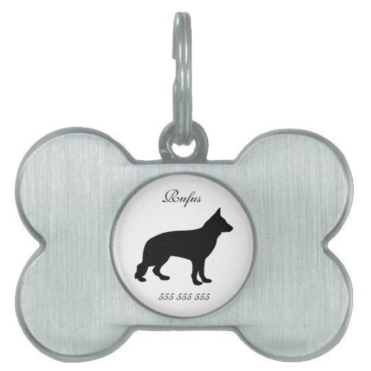 German Shepherd dog custom name phone no. dog id Pet Tag