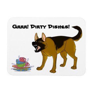 German Shepherd Dog Dirty Dishes Sign Magnet