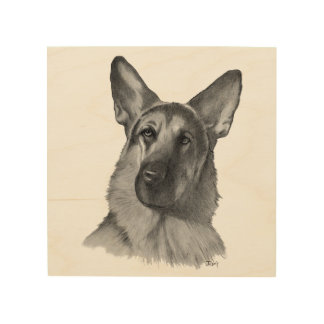 German Shepherd Dog Drawing Wood Wall Art